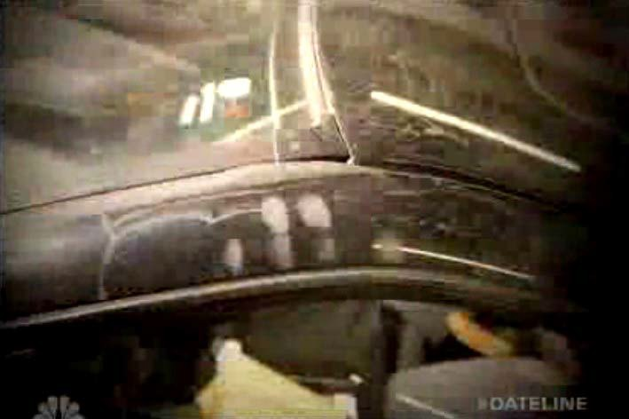 View of fingerprint smudges found on outside of driver door frame. Trial testimony indicated that the victim's fingerprints were found on the outside of the driver door frame but the transcript did not  describe the exact location. Still from NBC Dateline video.