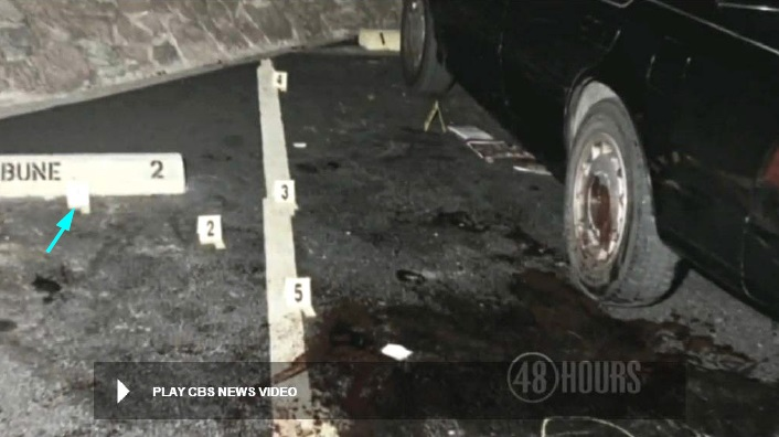 View looking lengthwise along driver side of Heitholt Maxima showing five placards locating found bloody footprint markings. Marker #1 is located at the blue arrow. Note the bulletins and magazines under the car at the driver door. Modified still from CBS 48 Hours police crime scene video.