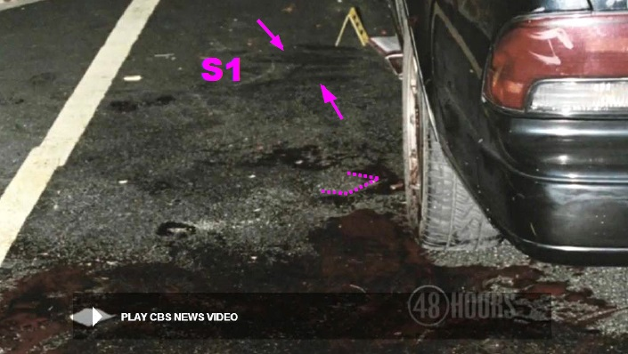 View looking along driver side and showing several apparent lateral scuff markings outside driver door. These were denoted as site S1 in an earlier photo. There appears to be two sets of the scuff markings at S1. These markings may have been made by the victim's shoes after falling to the ground during the early stages of the attack. Near rectangular dashed outline to blood on pavement just to other side of rear wheel suggests possible lay down location of rectangular shaped assault weapon while carrying out strangulation of victim. Modified still from CBS News video.