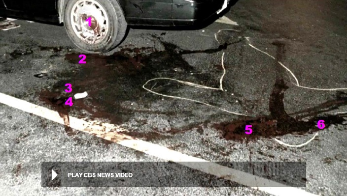 View of most of blood evidence on pavement with identifying markers in order of likely occurrence. 1- Heitholt's already bloodied head making strong scrubbing contact with left rear rim/cover. 2- Location of Heitholt head after assault ended and during lull before strangulation began. 3- Location of Heitholt head after strangulation. 4- Likely location of Heitholt head after being turned over by sports writers before emergency crew arrived. 5 - Relocation of head during resuscitation attempts. 6- Rotated head position for placement of scoop stretcher for removal of body. Modified CBS News Video still.