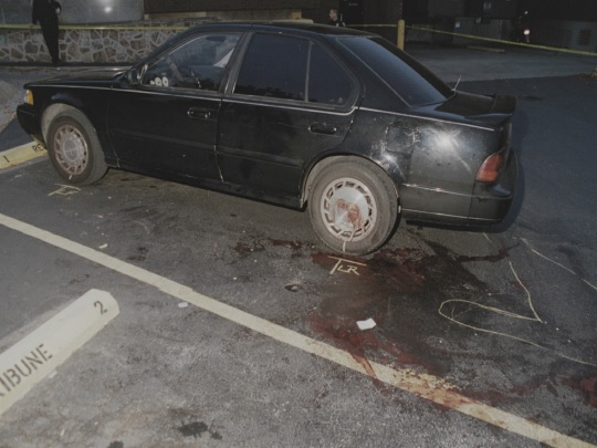 Police photo of driver side of Heitholt Nissan Maxima. CBS News photo.
